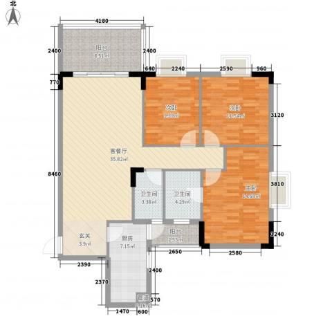 顺御名居3室1厅2卫1厨123.00㎡户型图