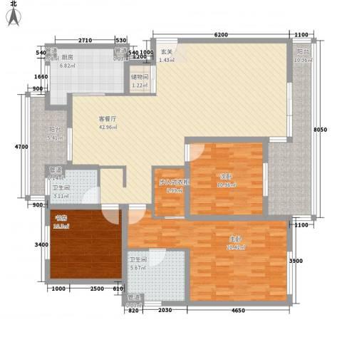 城市水岸3室1厅2卫1厨138.94㎡户型图