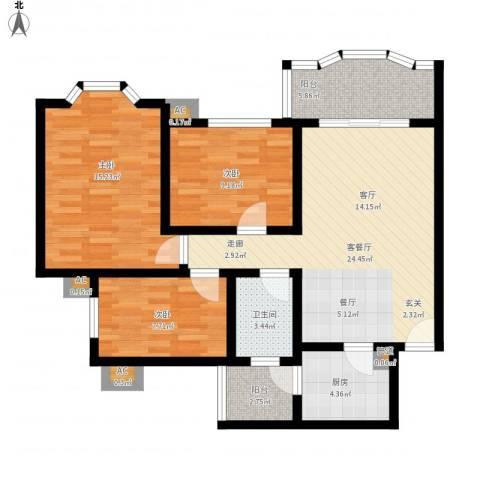 祈福新村康怡居3室1厅1卫1厨109.00㎡户型图