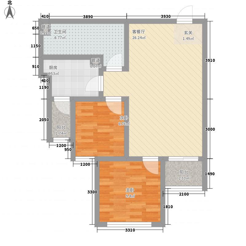 天竺嘉园7.48㎡D1户型2室2厅1卫1厨