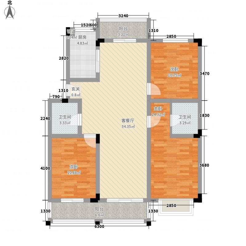 欧洲小镇3室1厅2卫1厨133.00㎡户型图