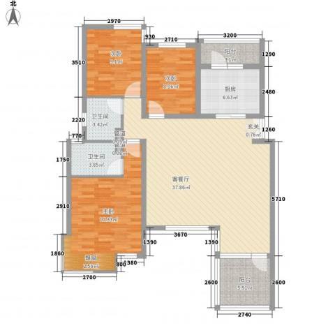 建阳花园3室1厅2卫1厨136.00㎡户型图