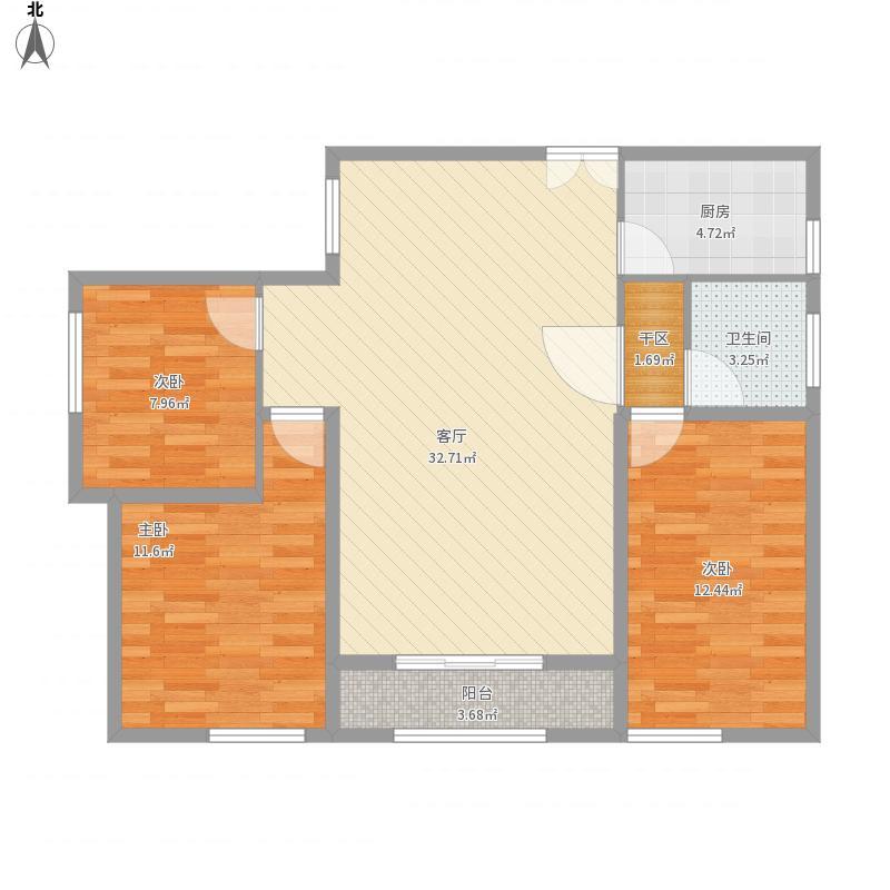 合园8号楼三室两天一卫87