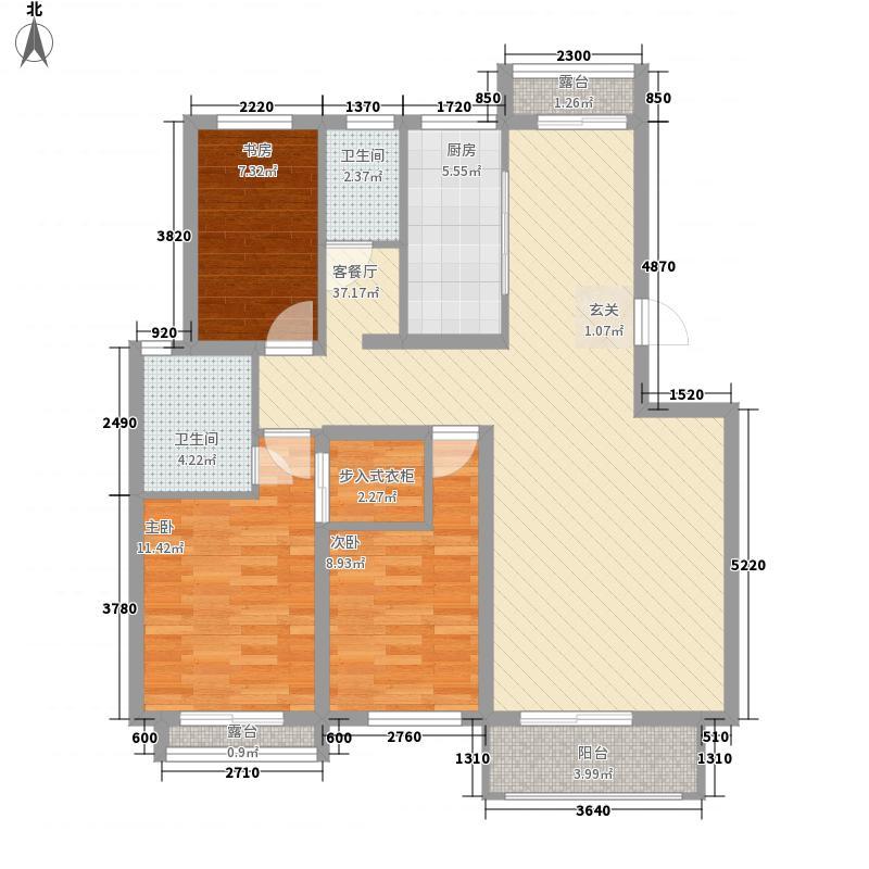 艾森颐景园123.00㎡一期住宅标准层L户型3室2厅2卫1厨