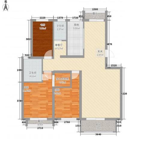 艾森颐景园3室1厅2卫1厨123.00㎡户型图