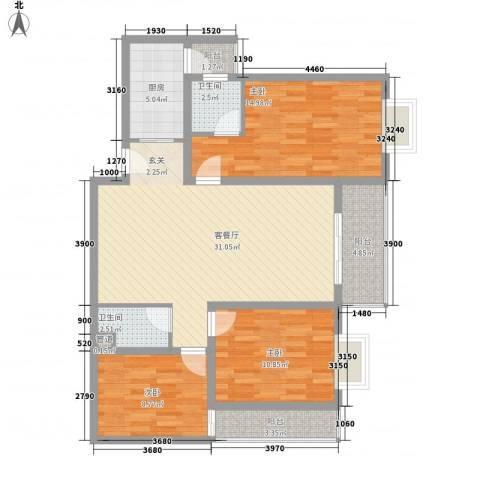 八里街1号3室1厅2卫1厨123.00㎡户型图