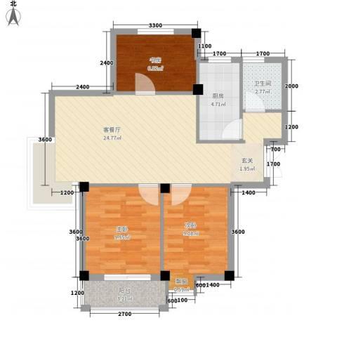 128国际公寓3室1厅1卫1厨87.00㎡户型图