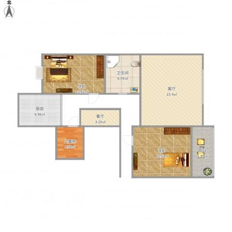 东华苑3室2厅1卫1厨106.00㎡户型图