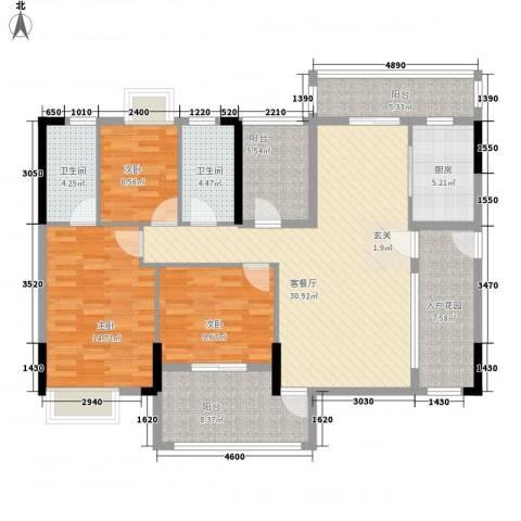 七星奥林园3室1厅2卫1厨102.60㎡户型图