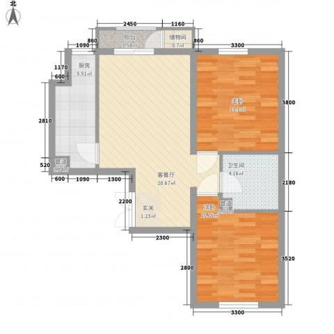 荷花家园2室1厅1卫1厨78.00㎡户型图