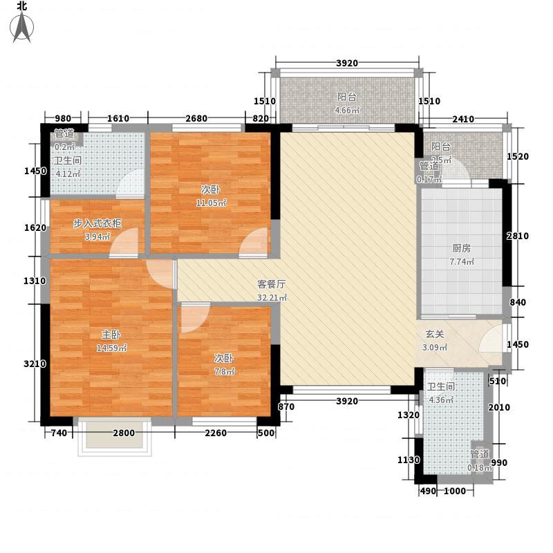 恒大中央广场122.00㎡4号楼标准层C/D户型3室2厅2卫1厨
