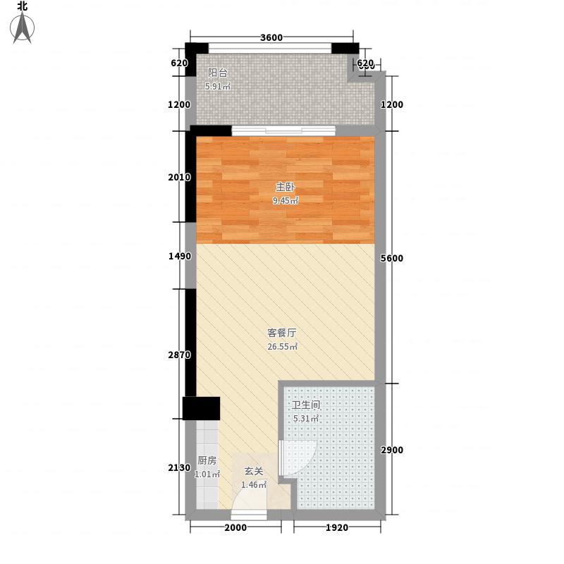 武汉万达九号公馆48.00㎡户型1室