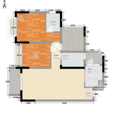 前卫江畔2室1厅2卫1厨121.00㎡户型图