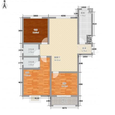 康瑞悦府3室1厅2卫1厨142.00㎡户型图