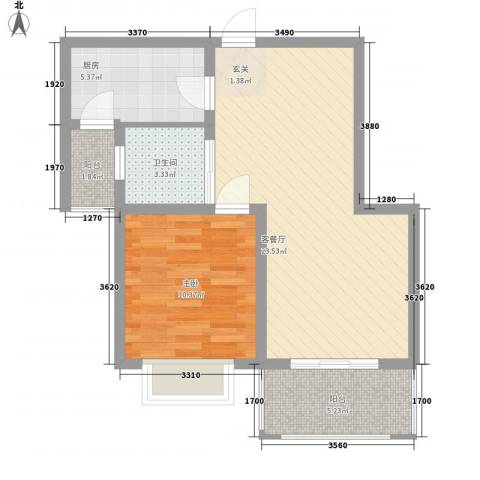 中海湖滨一号1室1厅1卫1厨72.00㎡户型图