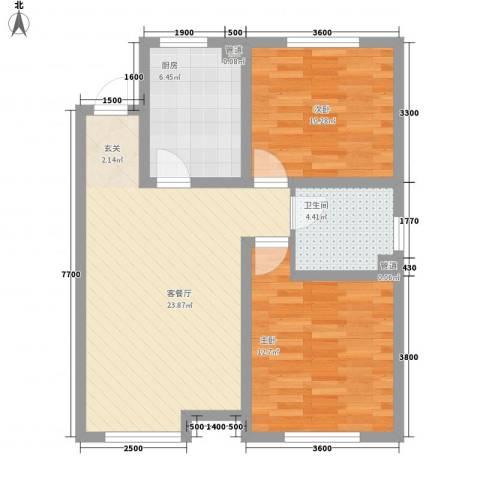 教师之家2室1厅1卫1厨83.00㎡户型图