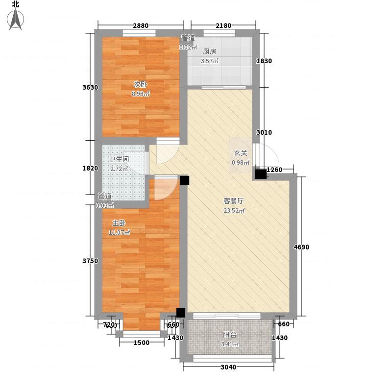 假日港湾76.62㎡多层J户型2室1厅1卫