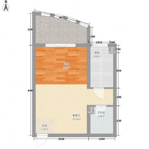 赵庄公寓1厅1卫1厨57.00㎡户型图