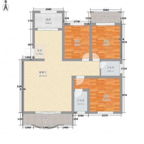 溪湖春晓3室1厅2卫1厨122.00㎡户型图