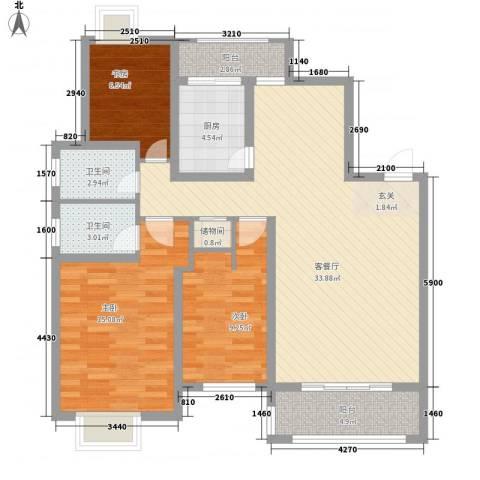 溪湖春晓3室1厅2卫1厨121.00㎡户型图