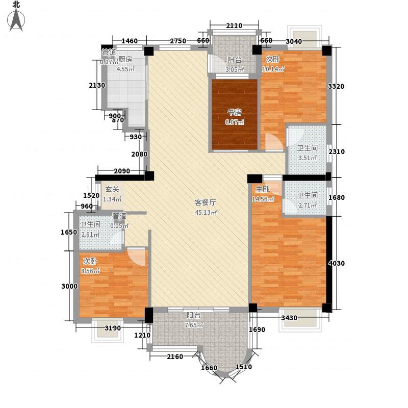 力嘉城市中心154.00㎡B户型4室2厅3卫1厨