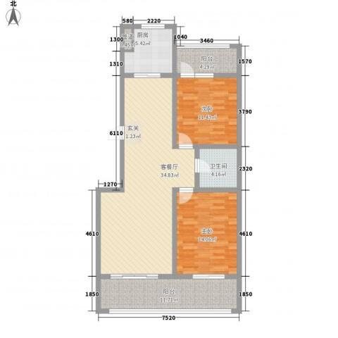 舜承大厦2室1厅1卫1厨124.00㎡户型图