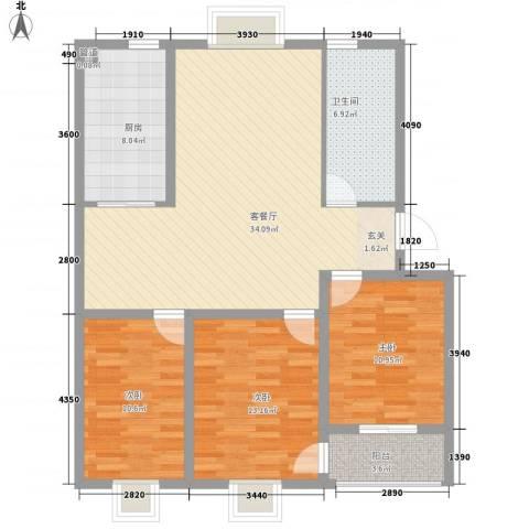 花样年华3室1厅1卫1厨125.00㎡户型图