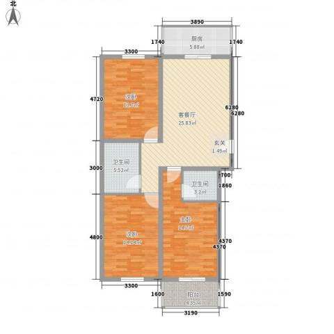 永升华庭3室1厅2卫1厨124.00㎡户型图