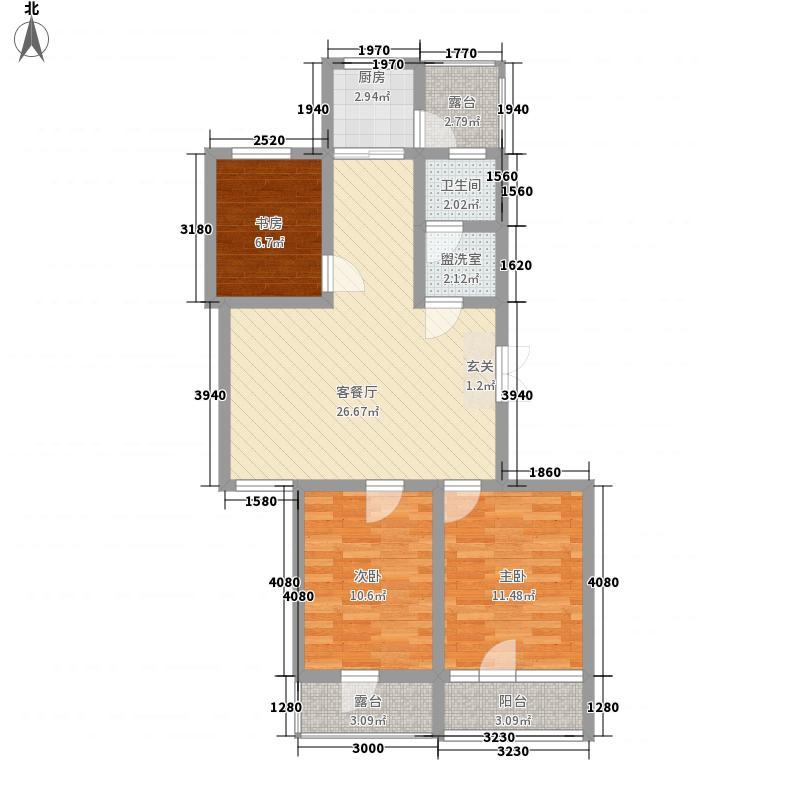 锦和城14.88㎡7号楼1单元西户3室户型3室2厅2卫1厨