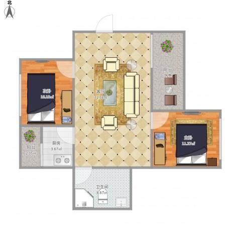 东源阁A区6187262室1厅1卫1厨98.00㎡户型图
