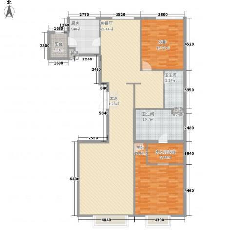 津澜阙2室1厅2卫1厨184.00㎡户型图