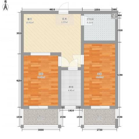 观庭2室1厅1卫1厨82.00㎡户型图