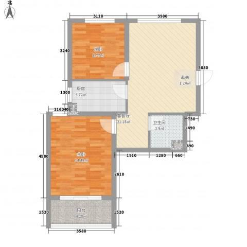 广泰瑞景城2室1厅1卫1厨82.00㎡户型图
