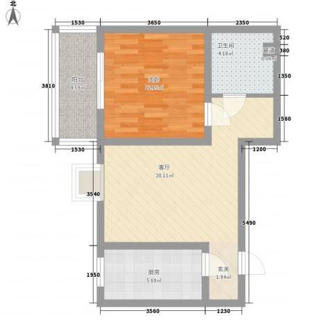 观庭1室1厅1卫1厨69.00㎡户型图