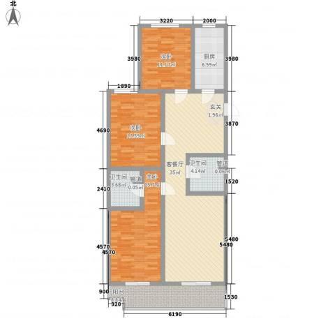 观庭3室1厅2卫1厨143.00㎡户型图