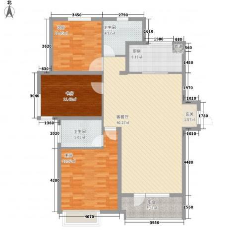 华润海中国3室1厅2卫1厨142.00㎡户型图
