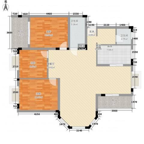 康城水云间3室1厅2卫1厨167.00㎡户型图