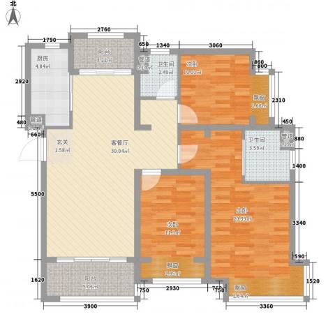 台�国际广场3室1厅2卫1厨105.60㎡户型图