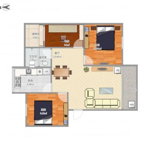 东华花园3室2厅1卫1厨90.00㎡户型图