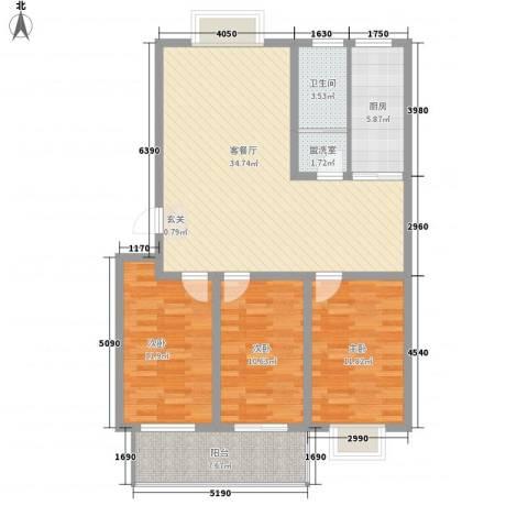 粮食局宿舍(健康街青年路)3室2厅1卫1厨125.00㎡户型图