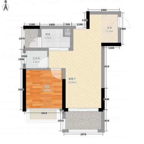 新园华府1室1厅1卫1厨55.00㎡户型图