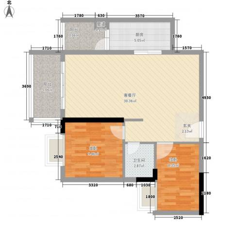 顺御名居2室1厅1卫1厨84.00㎡户型图