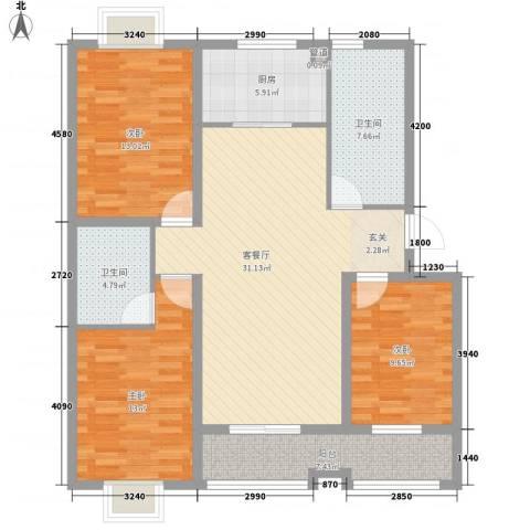 花样年华3室1厅2卫1厨133.00㎡户型图