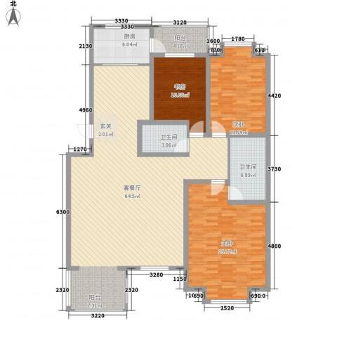 文泽苑3室1厅2卫1厨186.00㎡户型图
