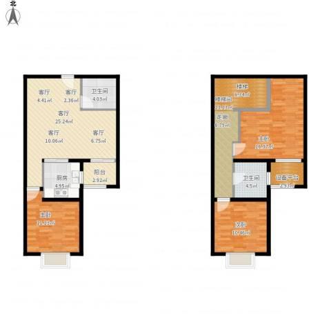 北辰红星国际广场3室1厅2卫1厨137.00㎡户型图