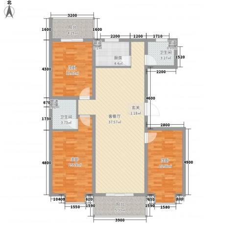 家和苑二期3室1厅2卫1厨133.00㎡户型图