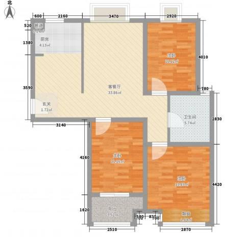 花样年华3室1厅1卫0厨113.00㎡户型图