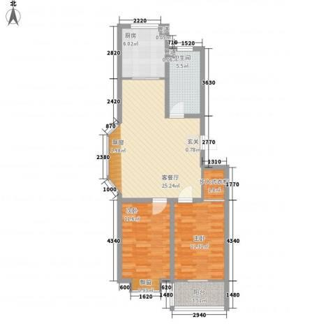 银翔新村2室1厅1卫1厨93.00㎡户型图