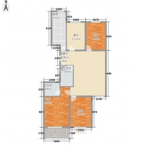郦苑国际花园二期3室2厅2卫1厨156.00㎡户型图