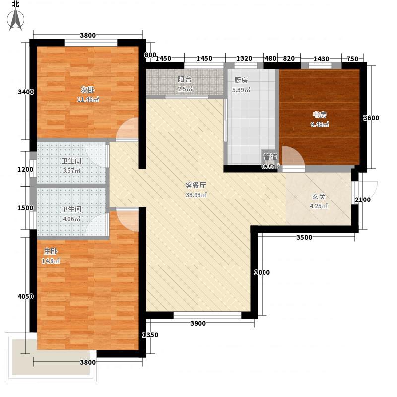 中冶玉带湾3室1厅2卫1厨122.00㎡户型图